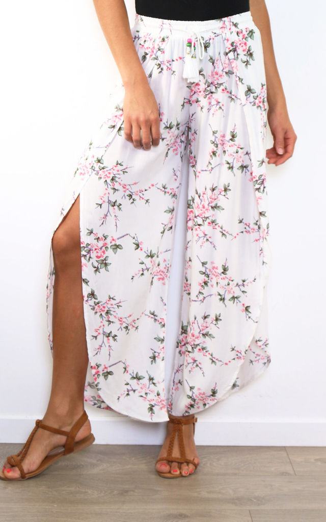 Summer Floral Wrap Style Cropped Trousers by Lilura London