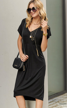 Asymmetric Summer Midi Dress In Black by Makadamia Product photo