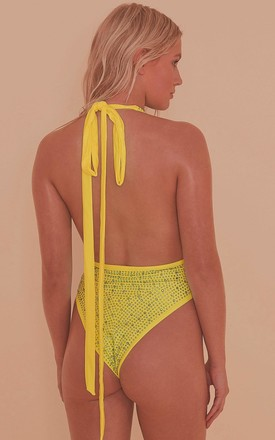 Neon Yellow Halter Neck Diamante Plunge Swimsuit by Wolf & Whistle