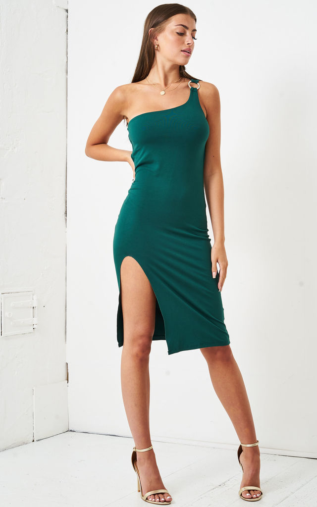 Jordyna One Shoulder Jersey Dress in Green by love frontrow