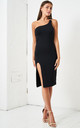 Jordyna One Shoulder Jersey Dress in Black by love frontrow