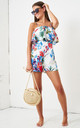 Melrose Tiered Layer Floral Playsuit in White by love frontrow