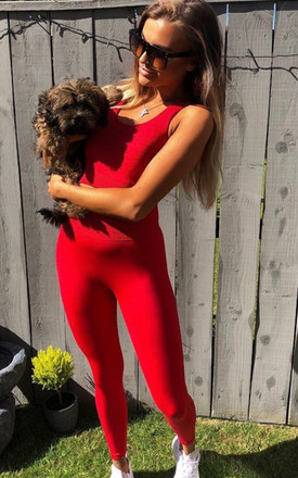 Red two piece gym set with crop top and leggings by Luxy Boutique