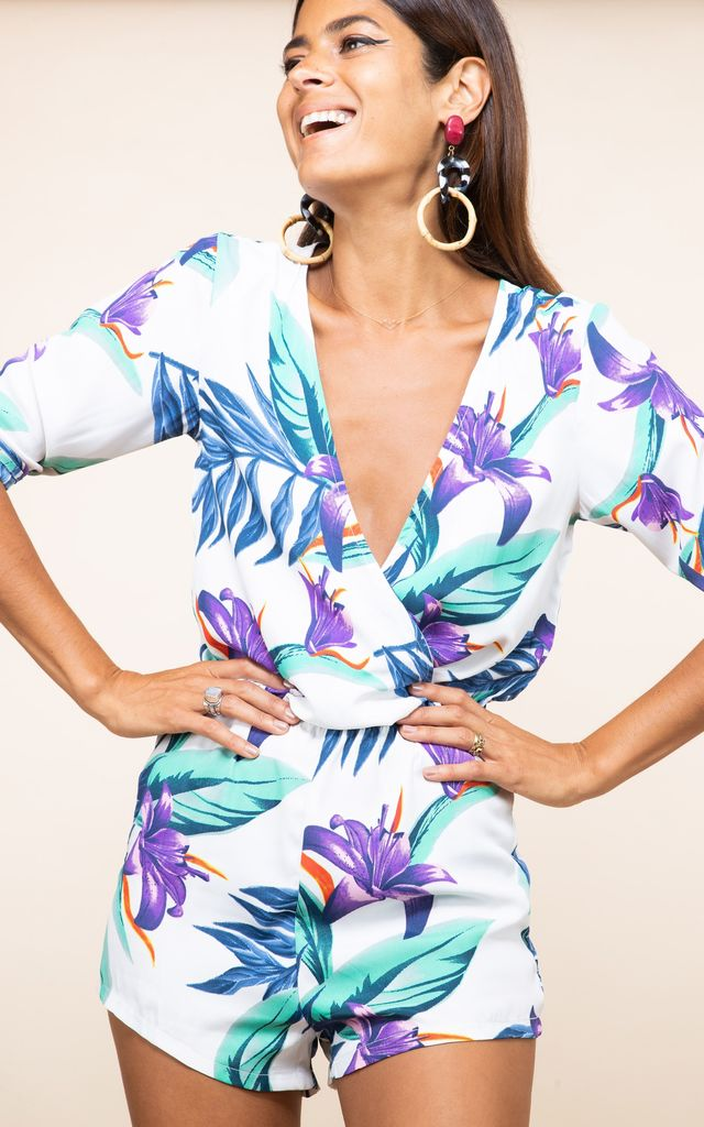 Tiago Playsuit in White Tropical by Dancing Leopard