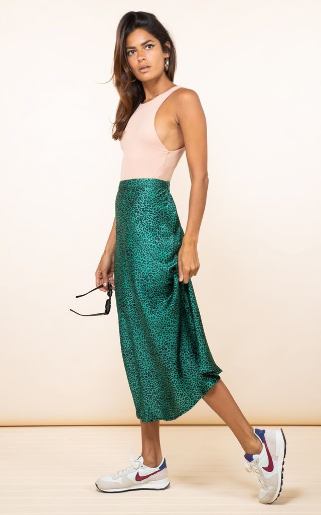 RENZO SKIRT IN SMALL GREEN LEOPARD by Dancing Leopard