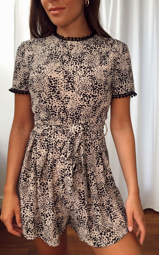 Gabby Trim Detail Floral Playsuit Beige by Girl In Mind