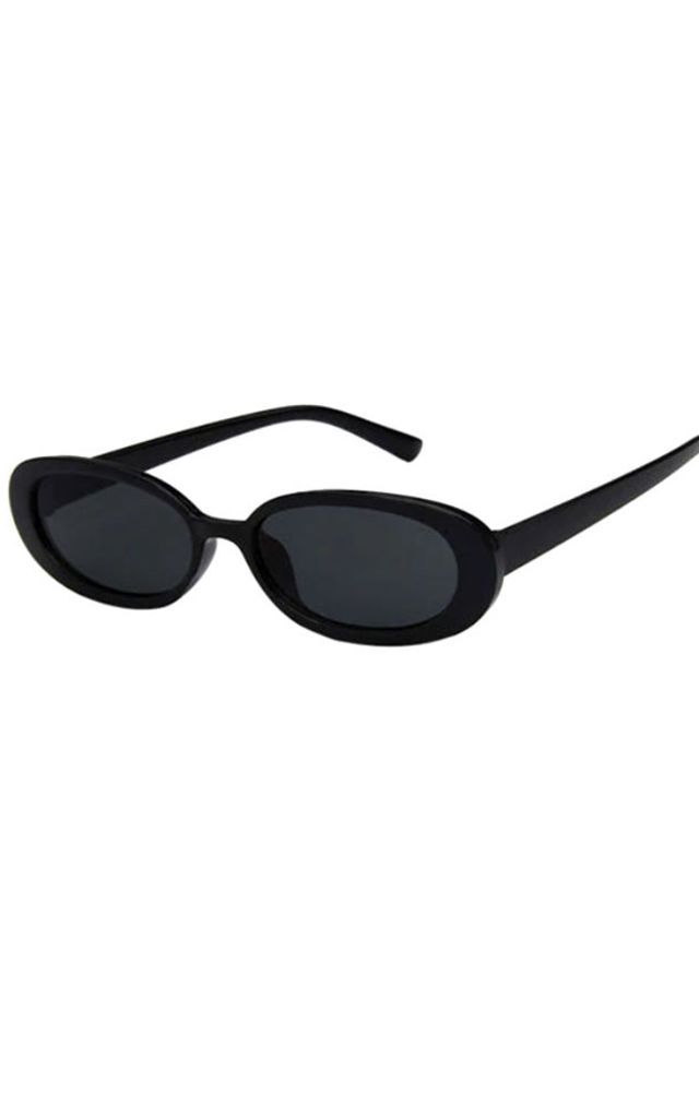 Halle Black Oval Sunglasses by Ajouter Store