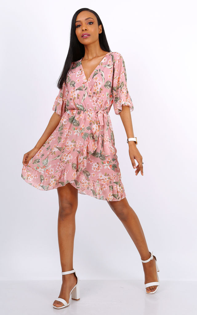 Summer Mini Wrap Dress With Frill Hem In Pink Floral Print by Lilura London