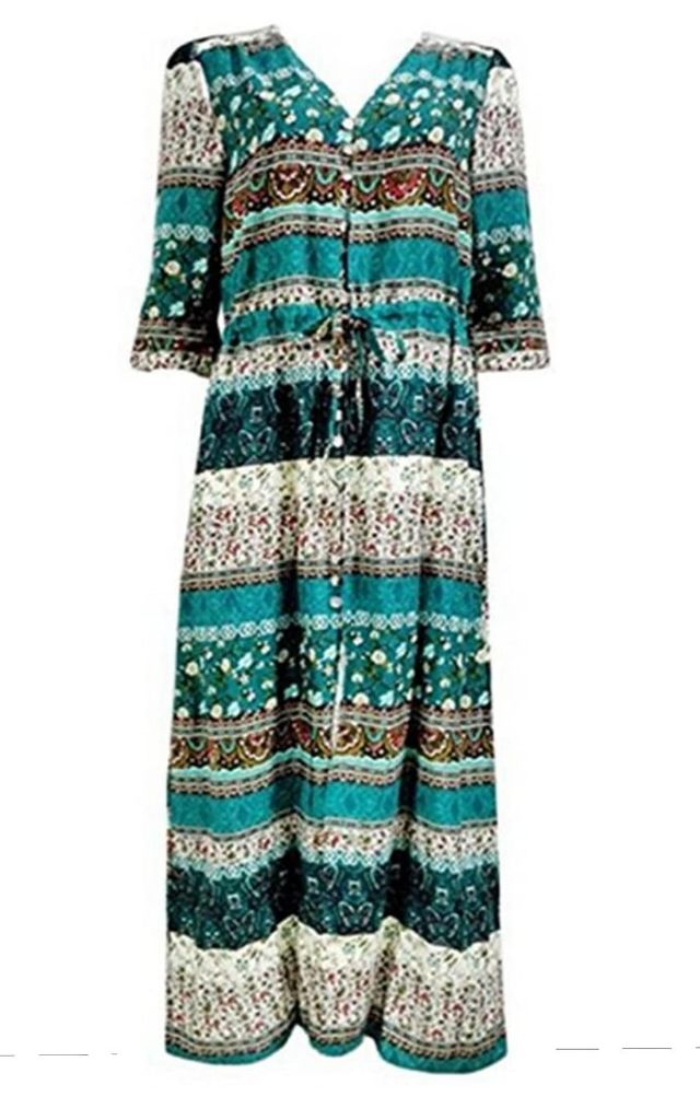 Boho Green Paisley Floral Maxi Summer Dress by GIGILAND UK