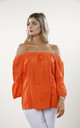 Coral Linen & Lace Off the Shoulder Top by Goose Island
