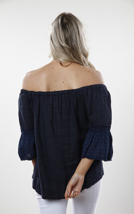 Navy Linen & Lace Off the Shoulder Top by Goose Island