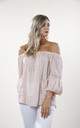 Pink Linen & Lace Off the Shoulder Top by Goose Island