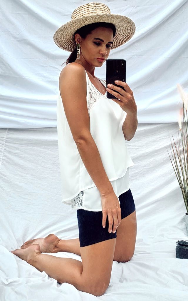 White Vest Top In Floral Lace & Chiffon With Back Split by CY Boutique