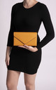 Mila Mustard Faux Leather Envelope Bag by KoKo Couture