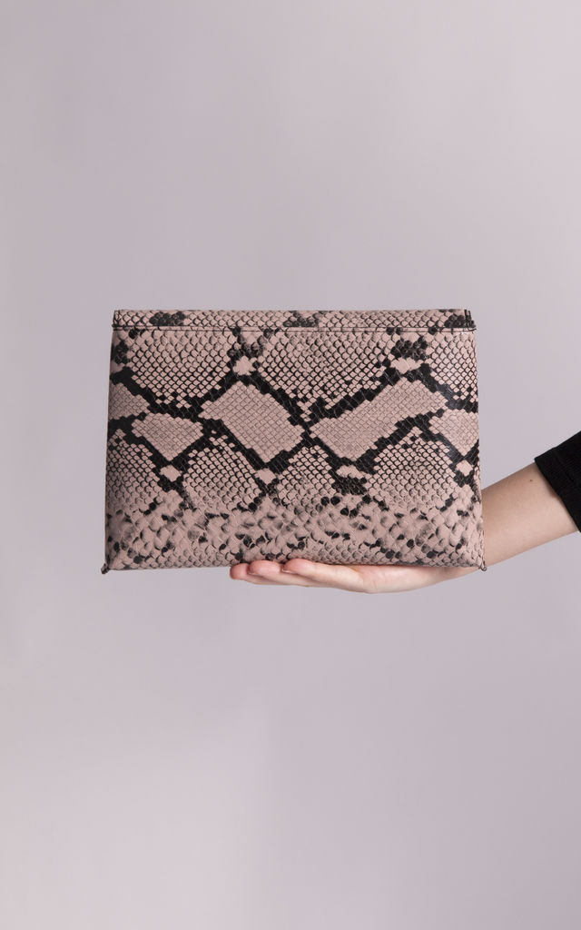 Leena Faux Snakeskin Envelope Clutch by KoKo Couture