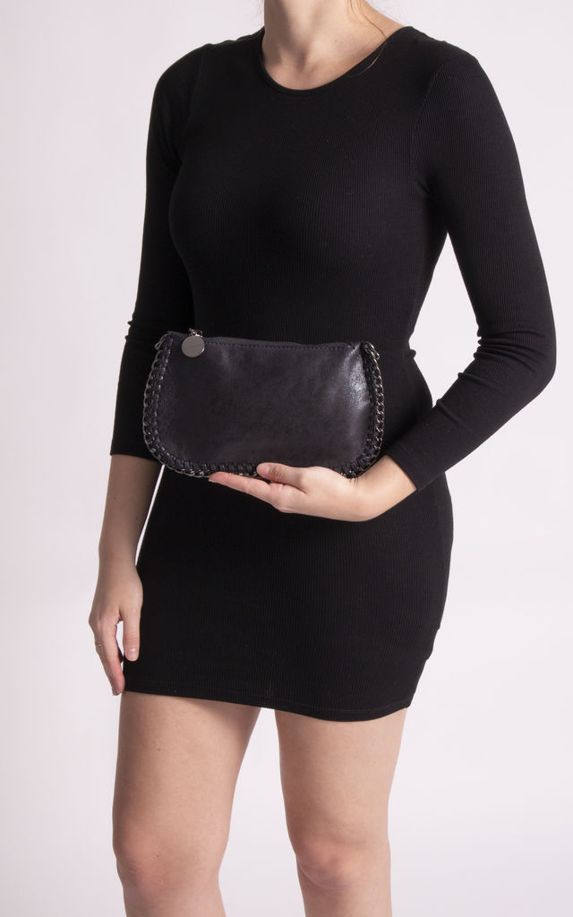Iggy Black Chain Detail Clutch Bag by KoKo Couture