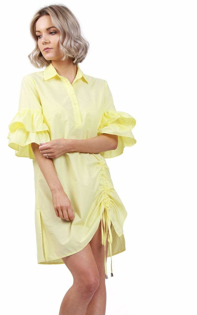 Oversized RUFFLE SLEEVE DRAWSTRING SHIRT DRESS IN LEMON by LOES House