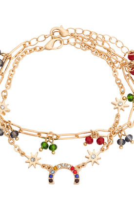'Hope' Bright Crystal Rainbow Bracelet Set in Gold by Kate Thornton
