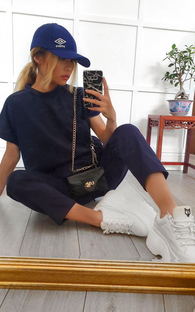 Navy Blue Round Neck Loungewear Tracksuit Co ord | Top & Joggers by GIGILAND