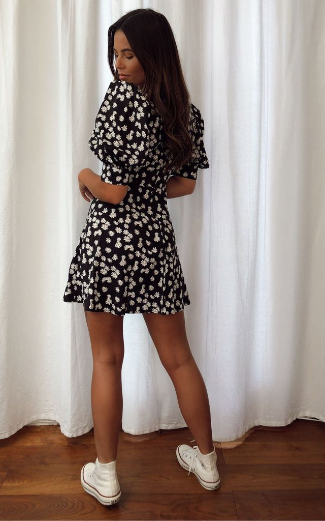 Elise Puff Sleeves  Gold Buckle Skater Dress Black Print by Girl In Mind