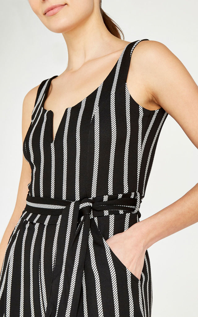 Black Rope Stripe Culotte Jumpsuit by APRICOT