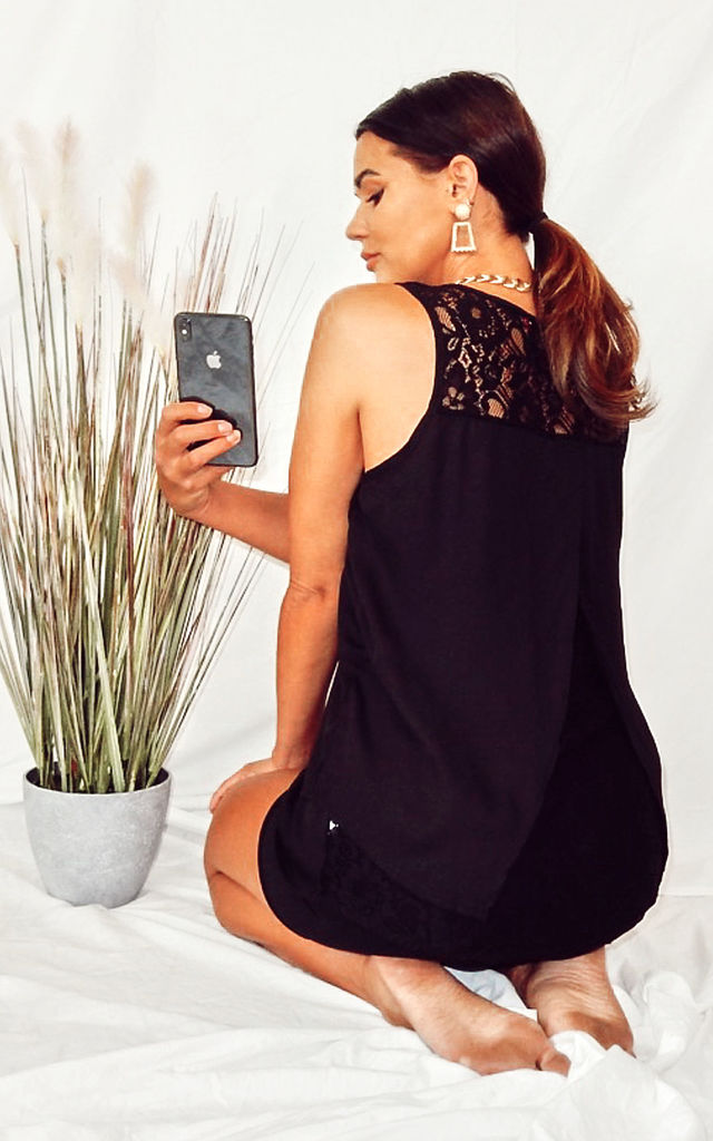 Black Vest Top in Floral Lace & Chiffon with Back Split by CY Boutique