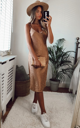 Jacquard Leopard Cami Midi Dress In Gold by Bella and Blue Product photo
