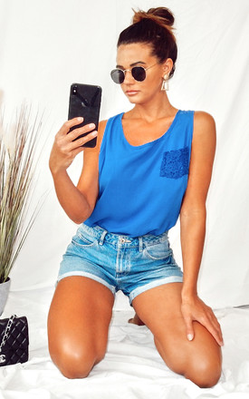 Sleeveless Vest Top with Floral Crochet Back in Blue by CY Boutique