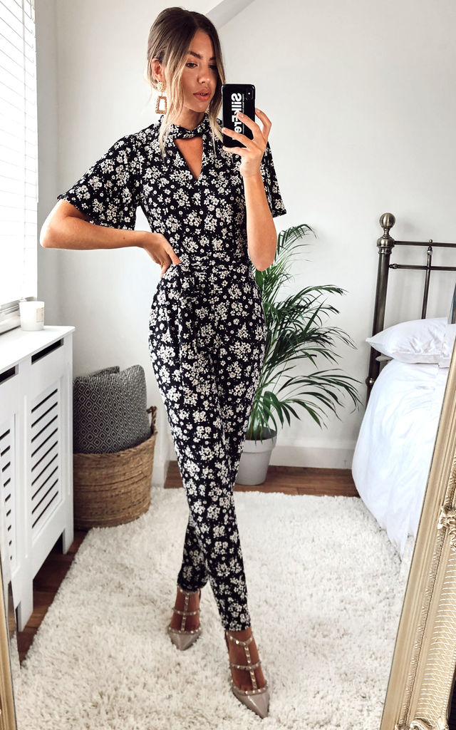 Wren Black and beige printed florall v neck jumpsuit by Style Cheat