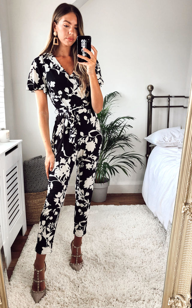Whitney Black Floral deep v Jumpsuit by Style Cheat