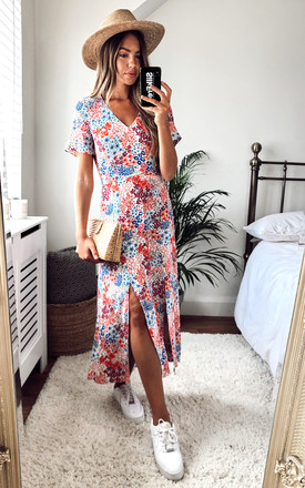 Winnie Ditsy Floral V Neck Midi Dress In White, Red And Blue by Style Cheat Product photo