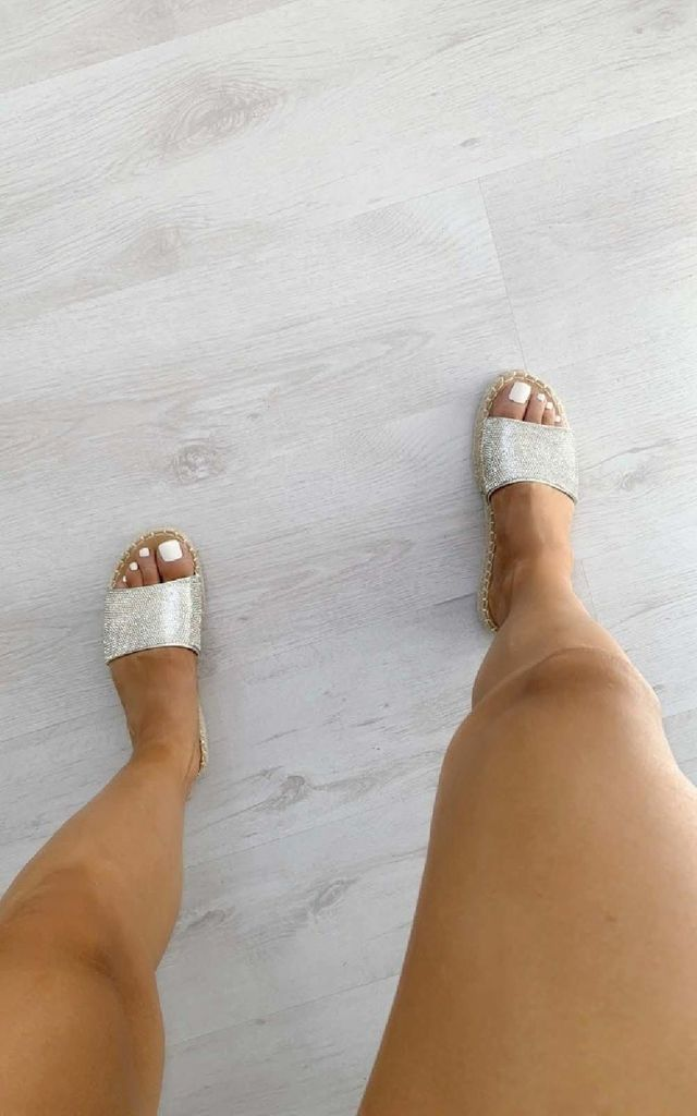 Shannon Diamante Slip On Sandals in Silver by IKRUSH