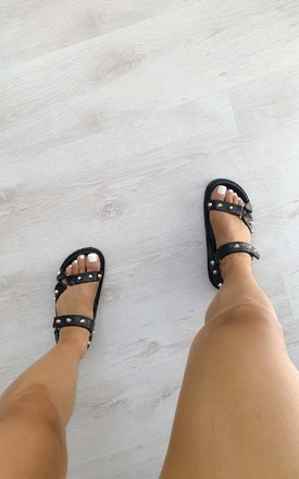 Maya Strappy Studded Sandals in Black by IKRUSH