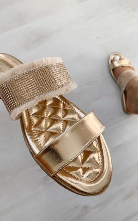 Orla Diamante Metallic Slip On Sandals in Champagne by IKRUSH