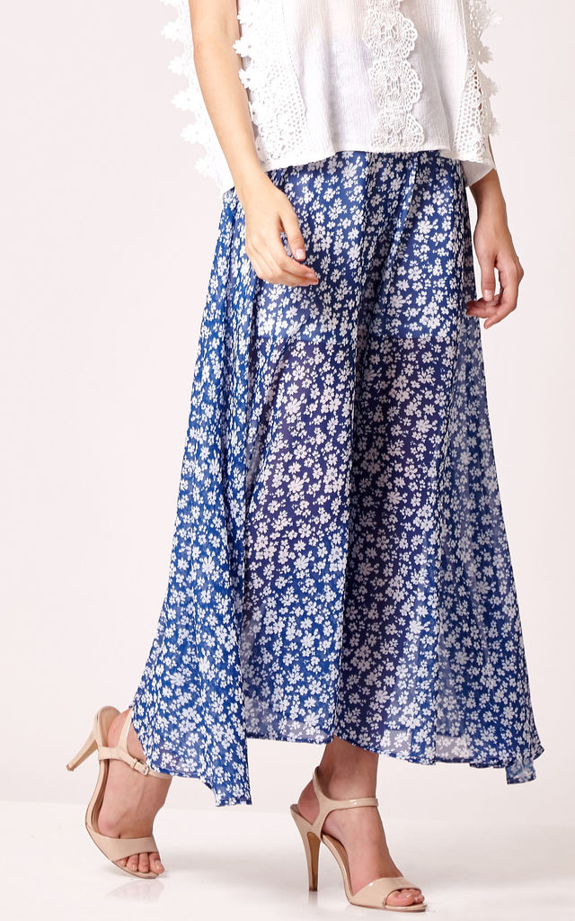 Floral Gossamer Maxi Skirt by Cutie London