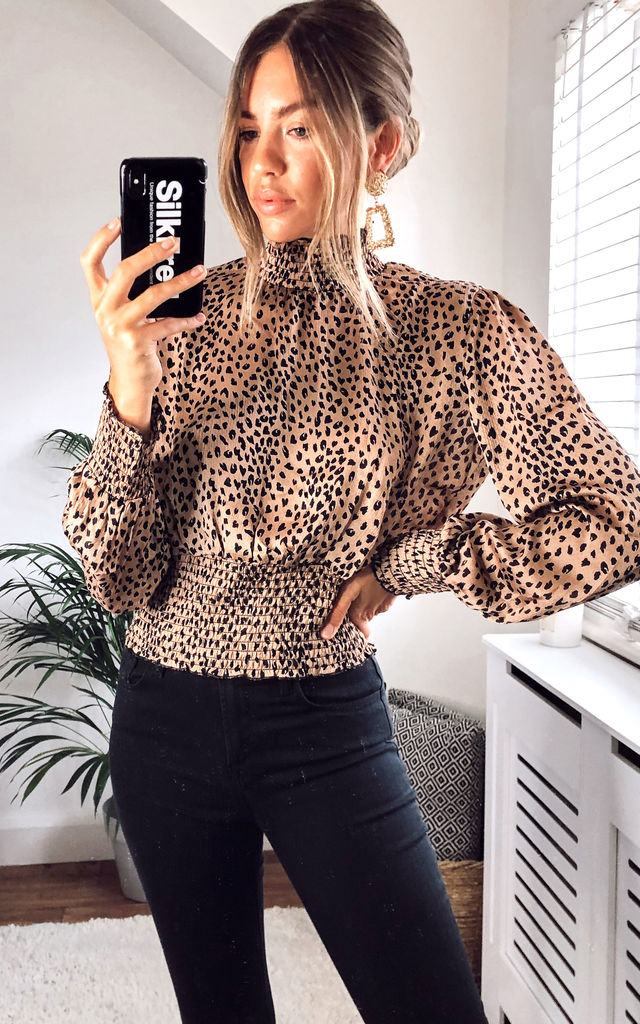 Brown Leopard shirred neck cropped top by LOVE SUNSHINE