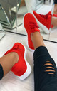 Nadine Knitted Sock Trainers in Red by Larena Fashion