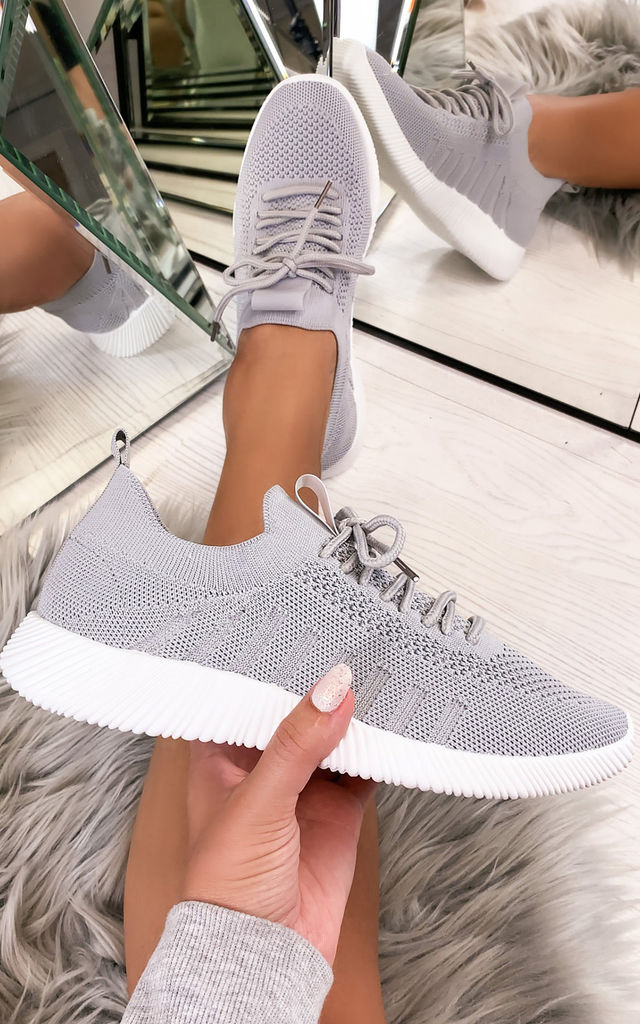 Nadine Knitted Sock Trainers in Grey by Larena Fashion