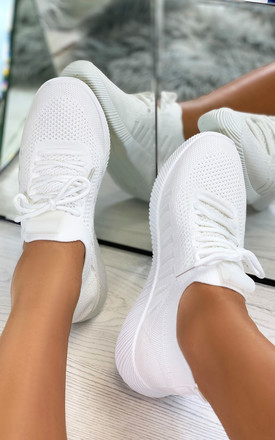 Nadine Knitted Sock Trainers in White by Larena Fashion