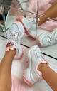 Rosie Chunky Lace Up Trainers in White Pink by Larena Fashion