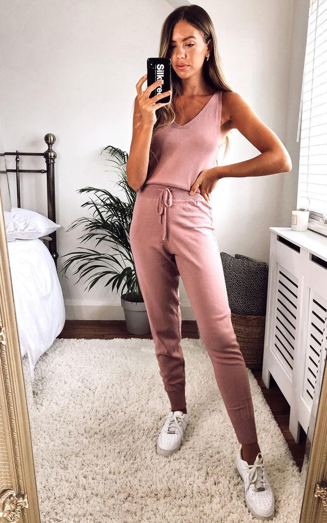 Knitted 3-Piece Loungewear Set Dusty Pink by URBAN TOUCH