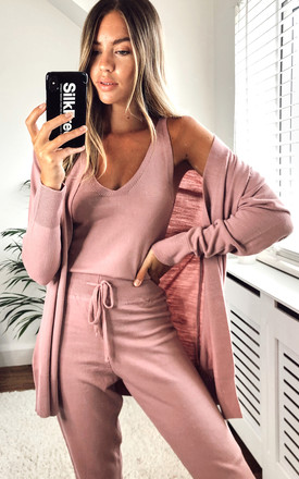 Knitted 3 Piece Loungewear Set Dusty Pink by URBAN TOUCH Product photo