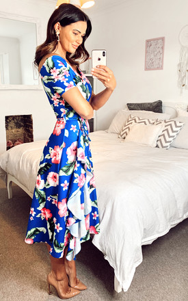 Exclusive Bardot Off Shoulder Frill Midi Dress Blue Floral Print by Feverfish