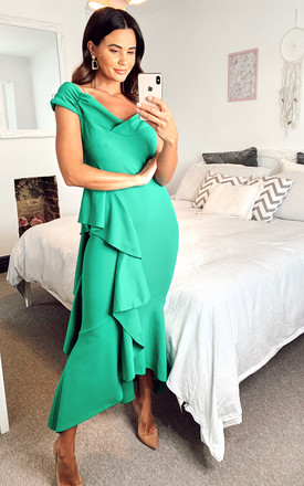 Bardot Off Shoulder Frill Maxi Dress green by Feverfish