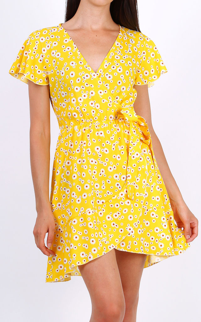 Summer Mini Wrap Dress With Frill Hem In Yellow Ditsy Floral Print by Lilura London