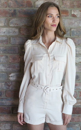 Beige Military Shirt Belted Playsuit by Another Style London