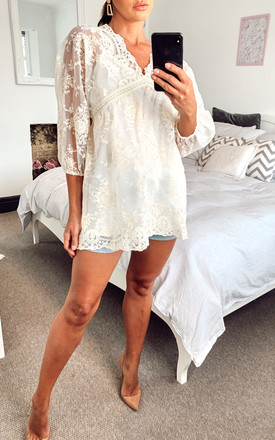 ELLA LACE TUNIC TOP BEIGE by Amy Lynn