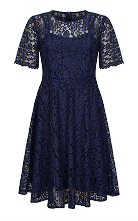 Navy Plus Size Lace Tea Dress by Yumi