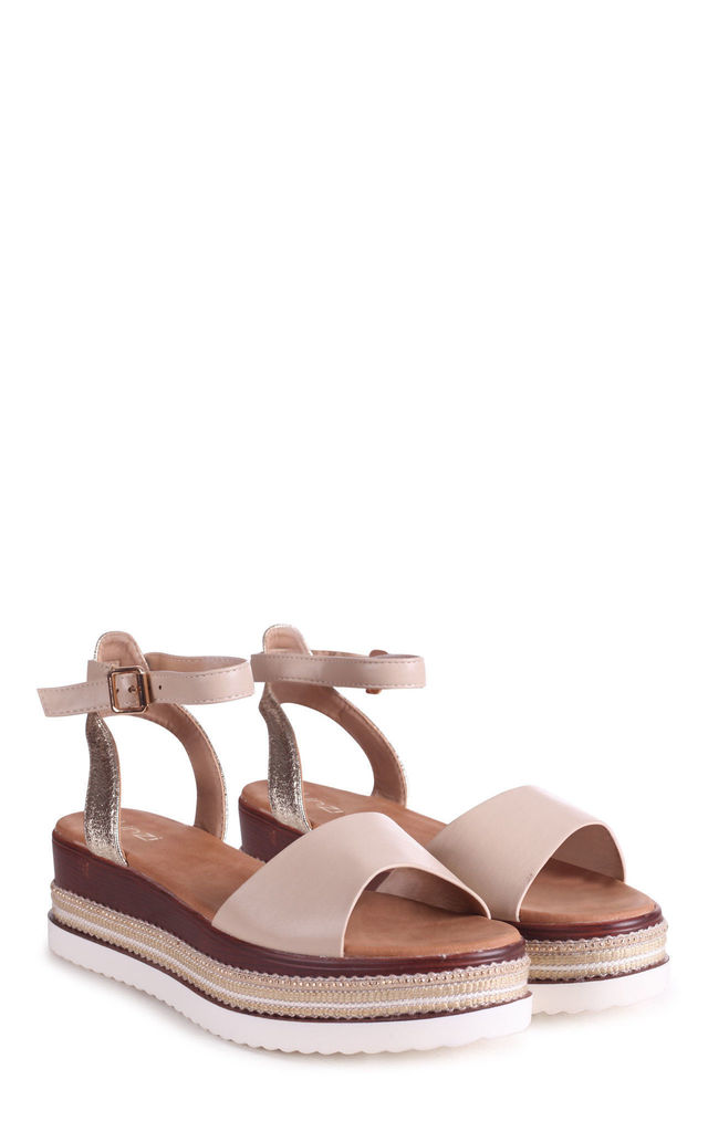 Soul Nude Nappa & Gold Lizard Flatforms With Embellished Trim by Linzi