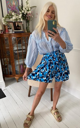 Leopard High Waisted Shorts in Blue by D.Anna